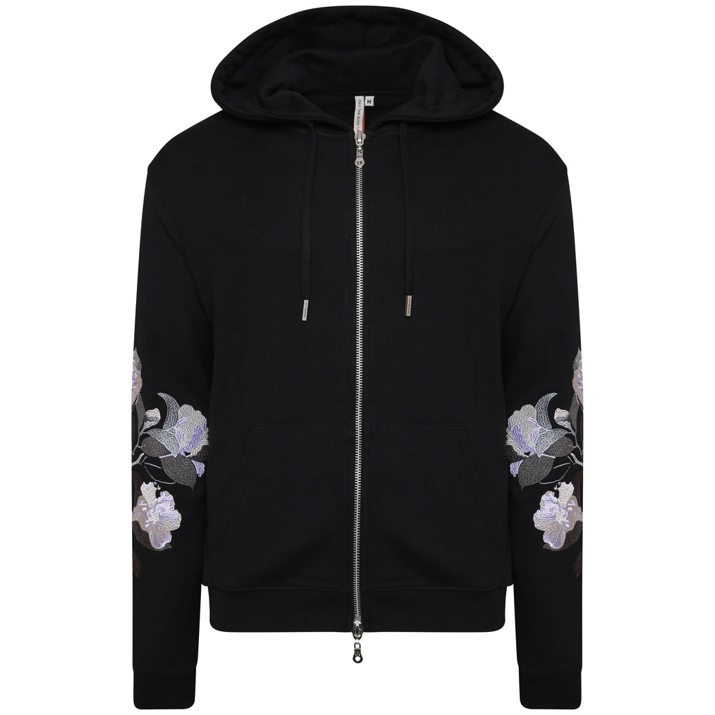Cotton black efflorescent zip-up sweatshirt