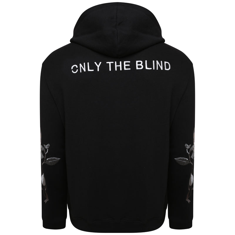 Black embroidered zip-up hooded sweatshirt