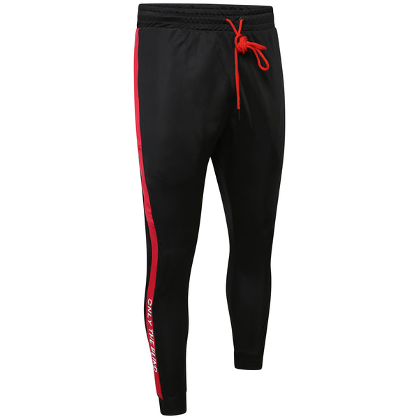 Technical black & red poly pant