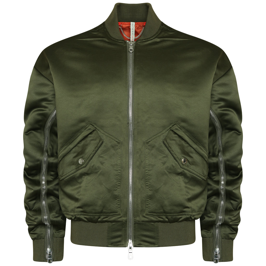 Signature satin khaki bomber jacket