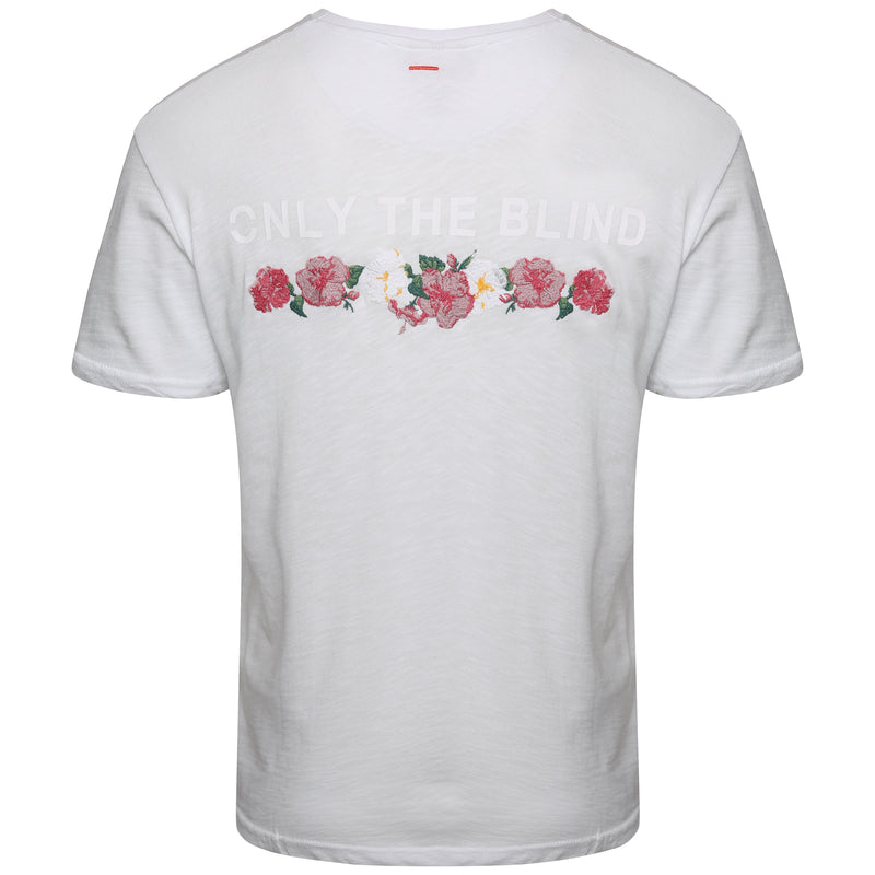 Floral embroidered white t-shirt with slogan