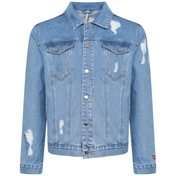 Distressed blue denim jacket with embroidery by OTB