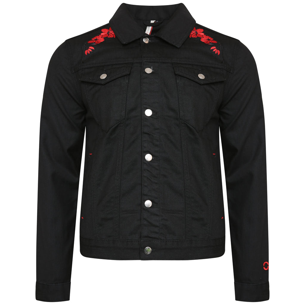Black Denim Jacket with Embroidery