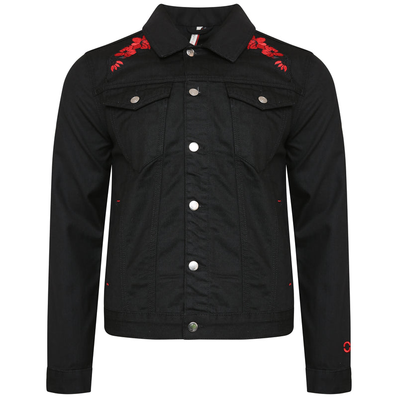 Denim jacket with embroidery (black)