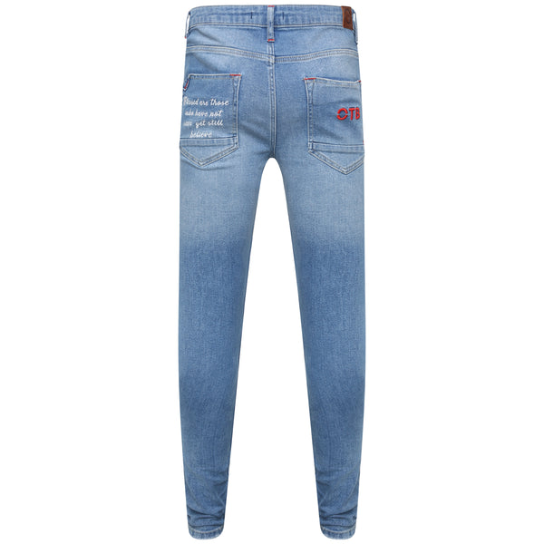 Distressed light blue Cult denim