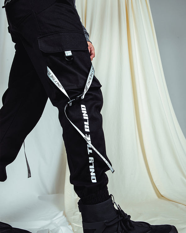 Black Embroidered Logo Cargo Bottoms