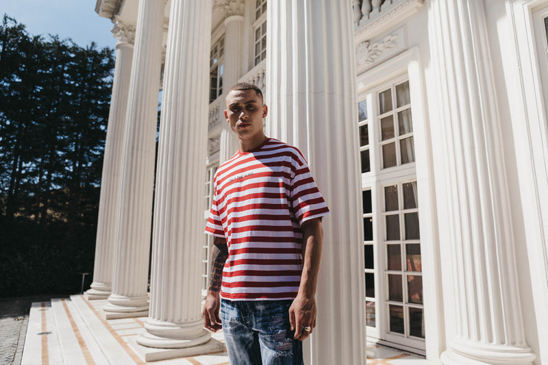 Cotton red & white stripe t-shirt