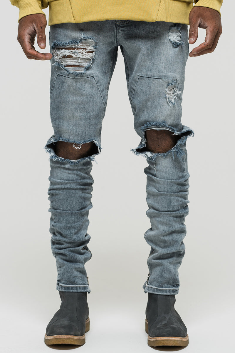 Distressed blue panel denim