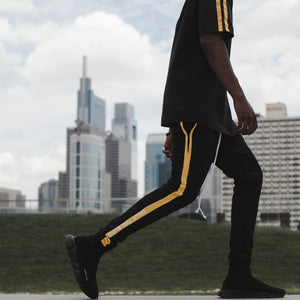Technical black & yellow poly pant