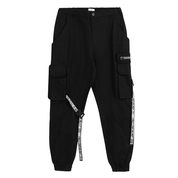 Black/White Strapped Cargo Bottoms