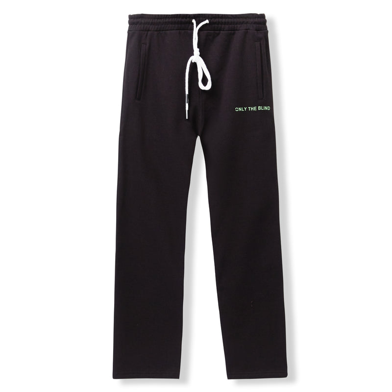 Essential Cotton Black Neon Green Sweatpants