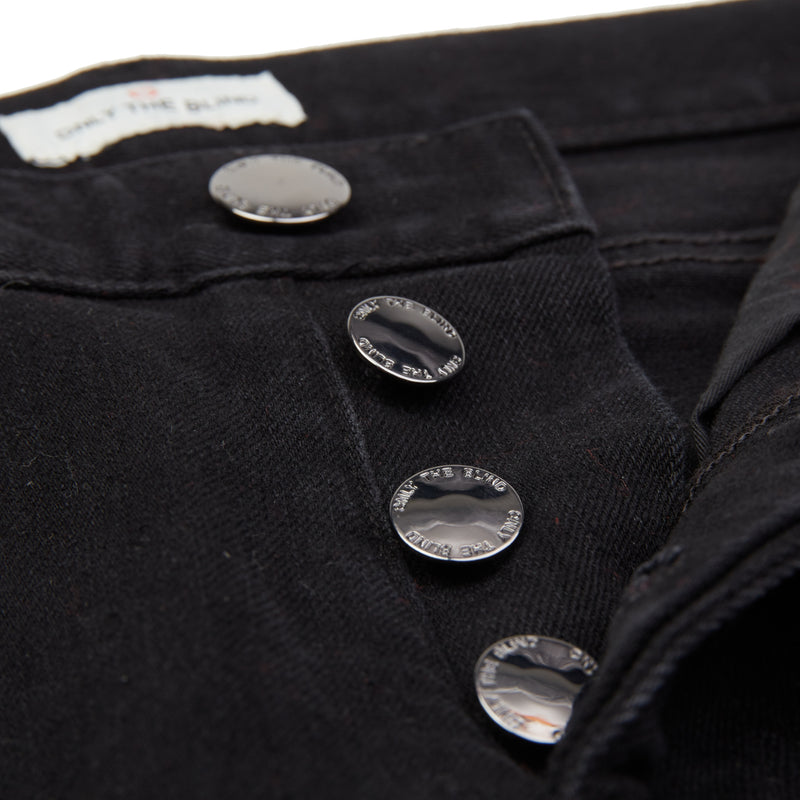Black Light Distressed Panel Denim