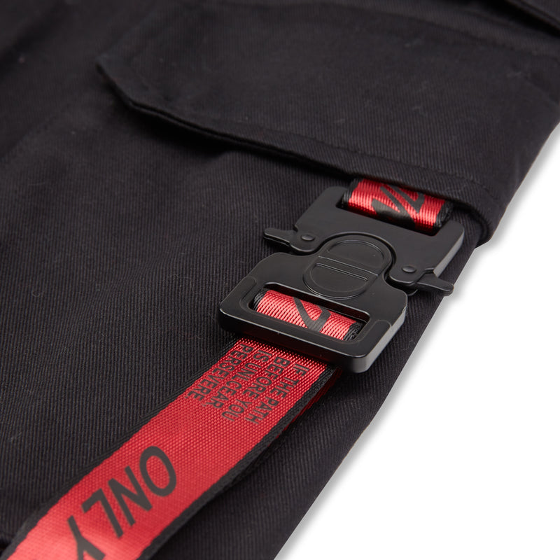 Black/Red Strapped Cargo Bottoms