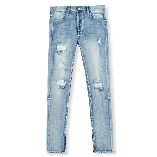 Blue Light Distressed Panel Denim