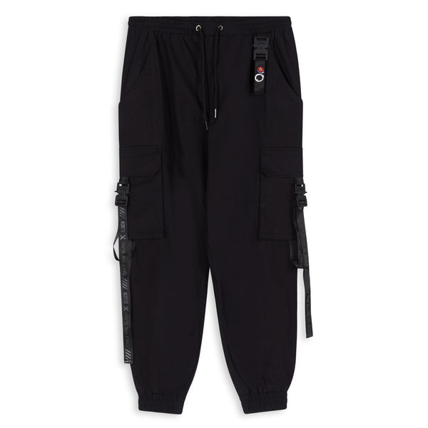 OTB X ILLVZN Triple Black Strapped Cargo Bottoms