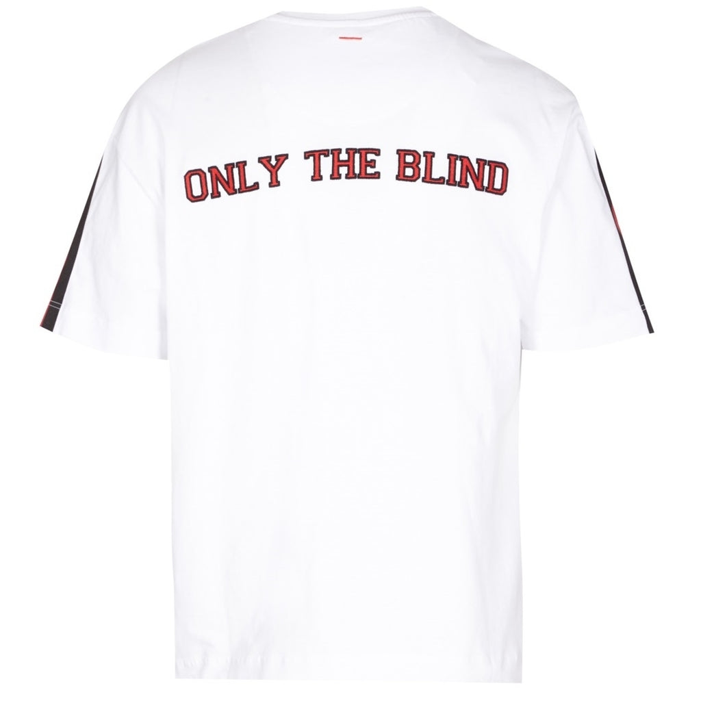 White and red logo tee