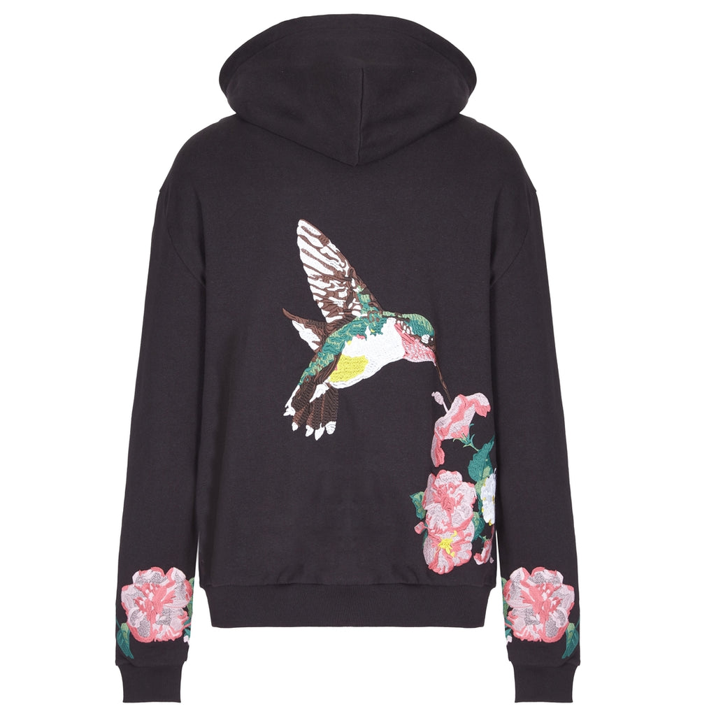 Cotton embroidered hummingbird sweatshirt