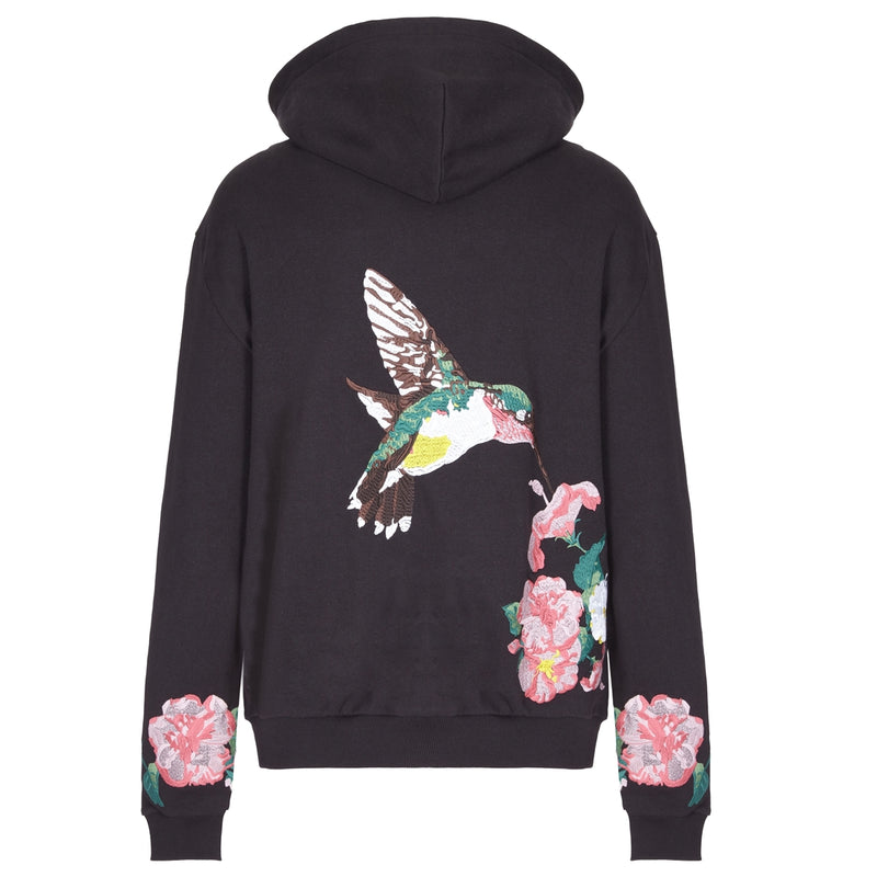 Embroidered Hummingbird Hoodie in Black by OTB
