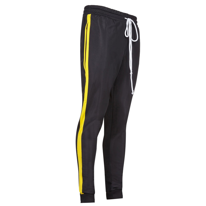 Black and yellow striped track pants