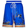 Blue Collection - Blue poly cotton floral jersey shorts