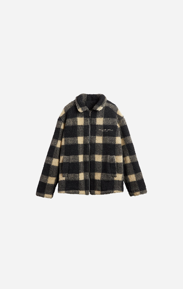 Beige Check Borg Jacket