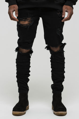 Distressed Panel Black Denim