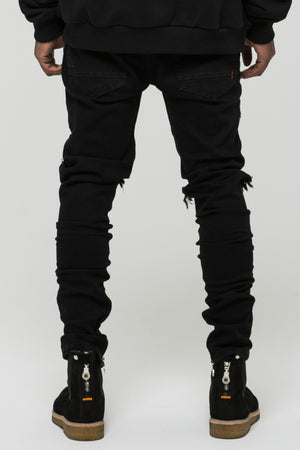 Distressed black panel denim