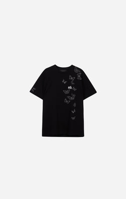 Black Embroidered Butterfly T-Shirt