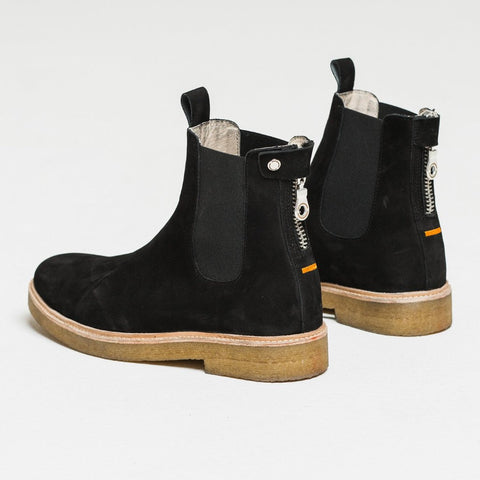 Nubuck Black Chelsea Boot