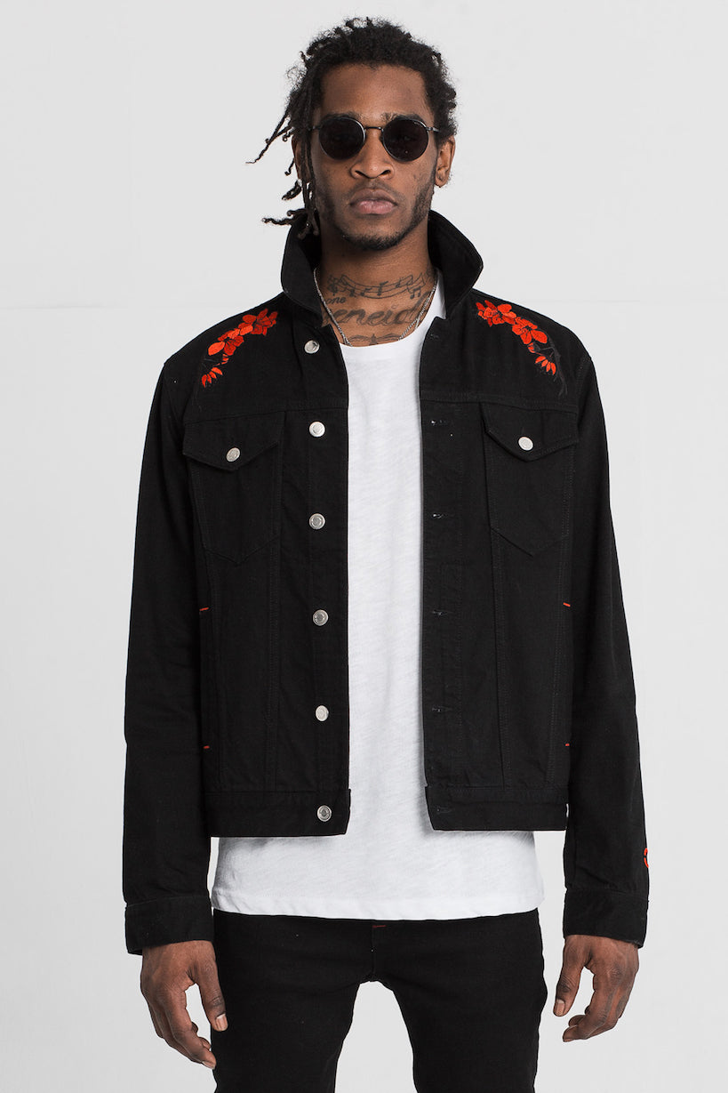 Black Lotus Embroidered Denim Jacket by Only The Blind
