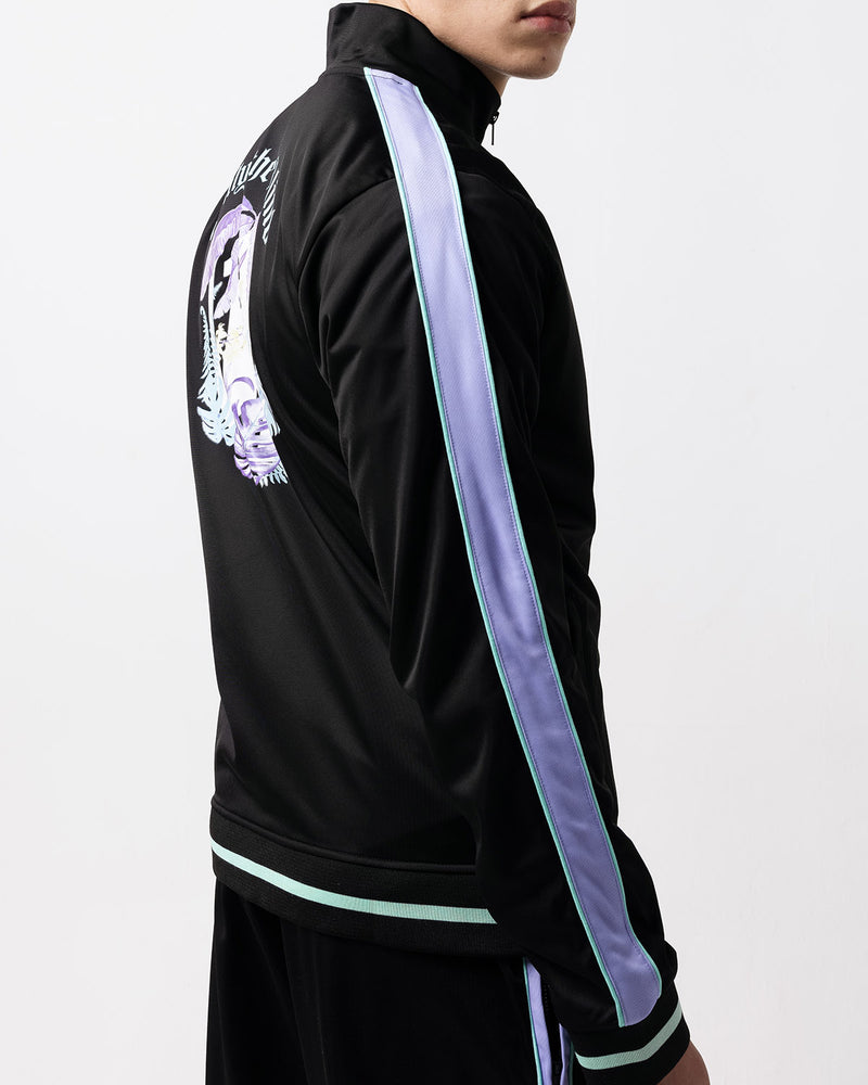 Black & Lilac Tropical Track Jacket