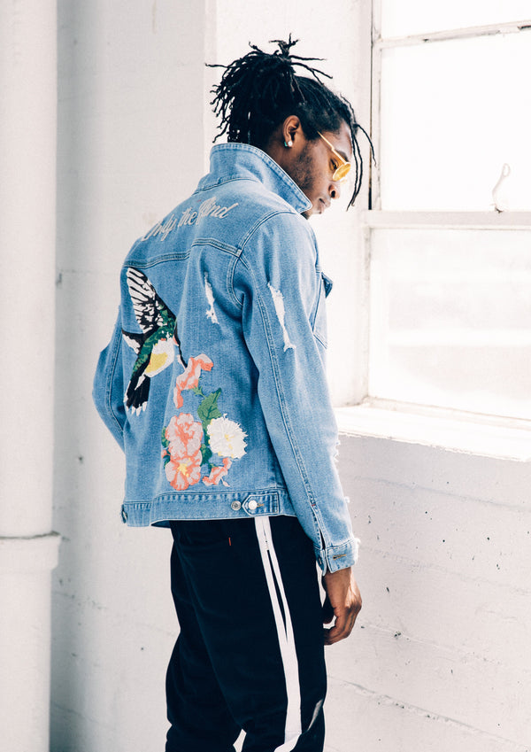 Distressed Light Blue Denim Jacket With Hummingbird Embroidery