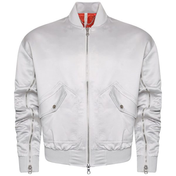 Signature Satin Silver Bomber Jacket