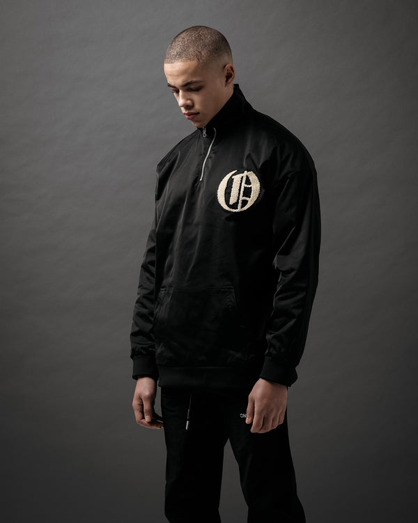 Black Satin Half Zip Bomber