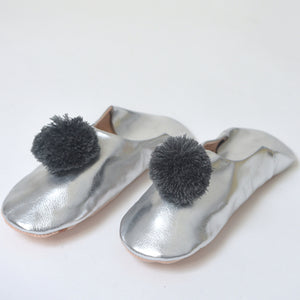 Silver Slippers with Chunky Grey Pompom