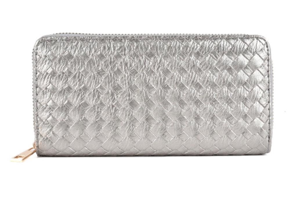 Pewter weave purse