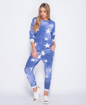 Star print denim effect loungewear