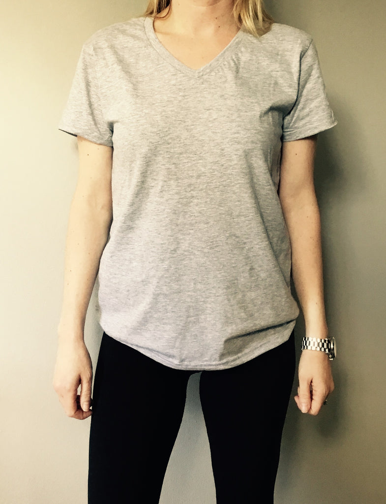 V neck grey marl tee