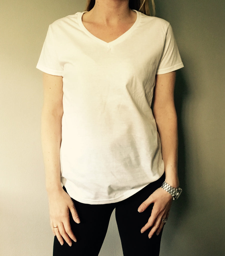 White 100% cotton V neck t-shirt