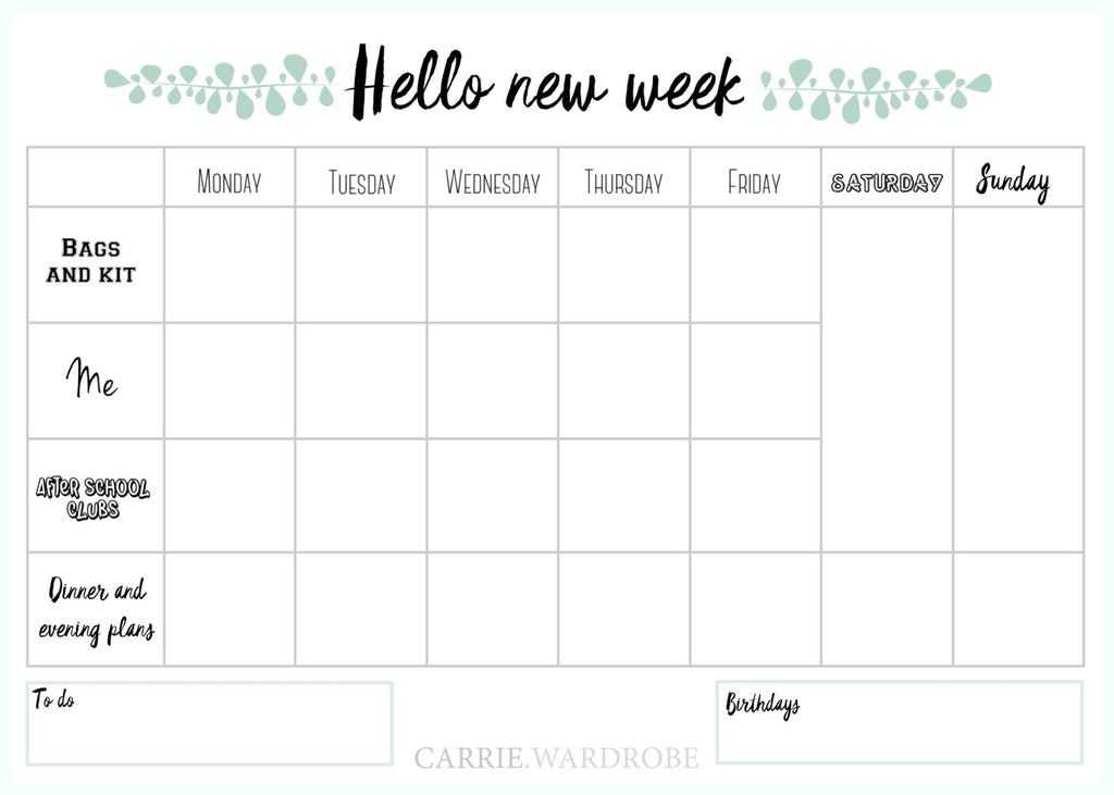 Hello new week planner