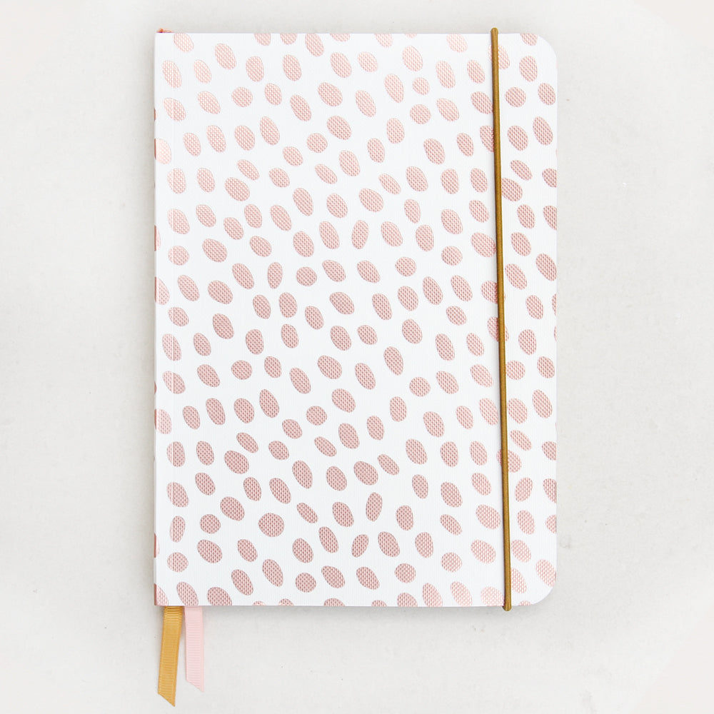 Caroline Gardner Dotty Metallic A5 Notebook Rose Gold