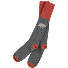 Men's Lambswool Brown Bear Knee Socks