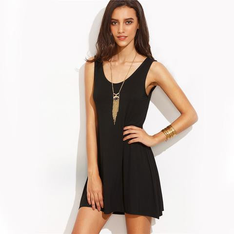 WOMENS LITTLE BACKLESS BLACK DRESS