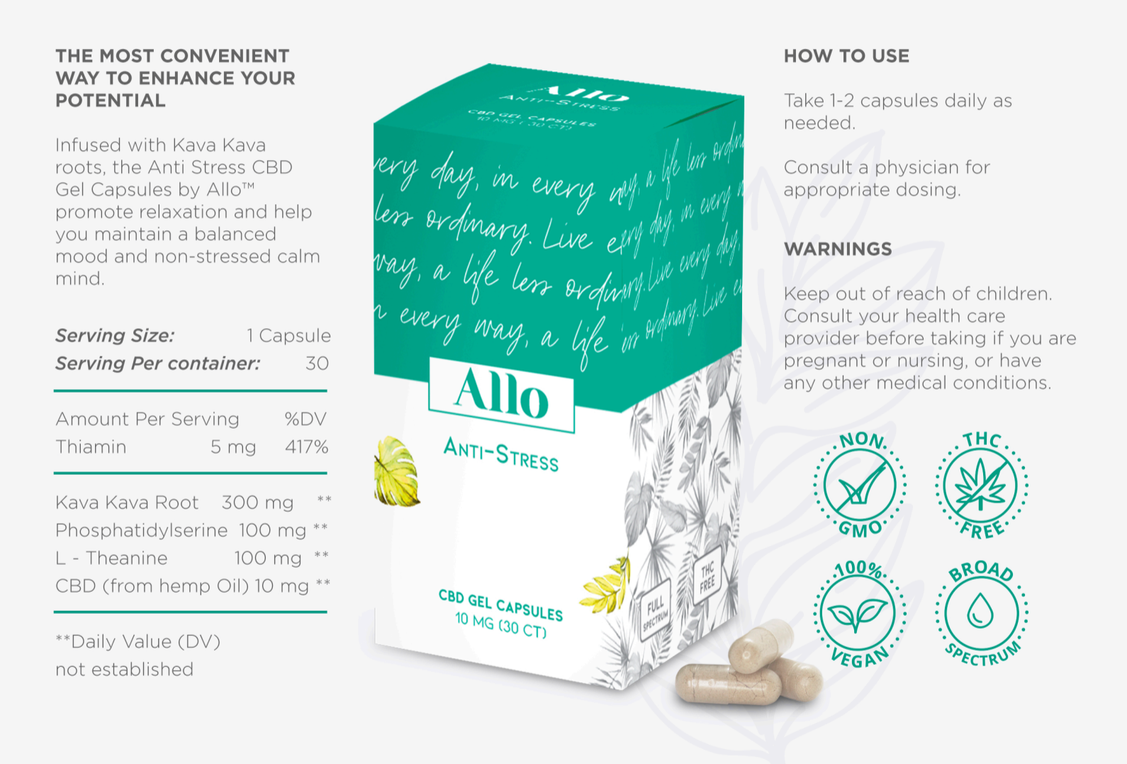 Allo CBD Daily Stress Management Capsules
