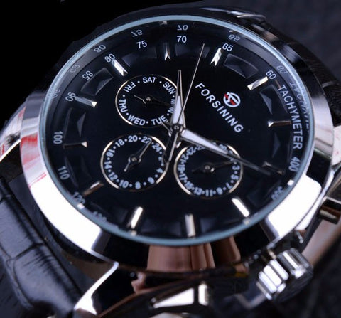MEN'S FASHION DESIGNER THREE DIAL AUTOMATIC MECHANICAL WATCH