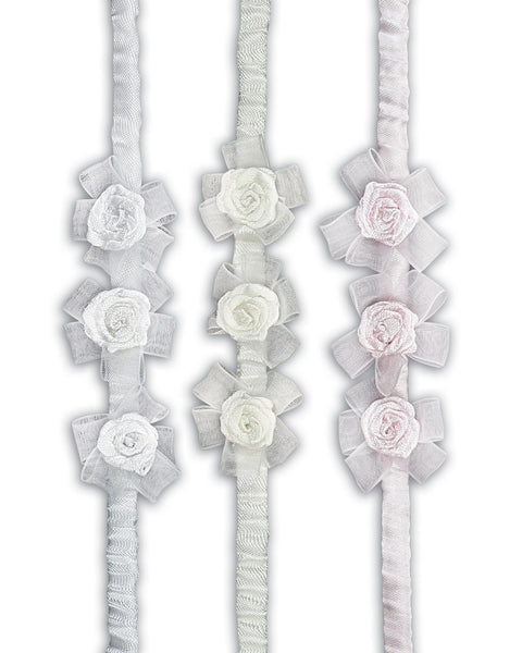 Sarah Louise Head Band Roses Garter Ivory/Pink/White