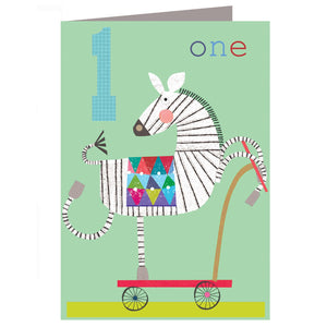 Load image into Gallery viewer, Age 1 - Zebra Birthday Card