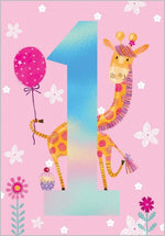 Age 1 - Giraffe Birthday Card