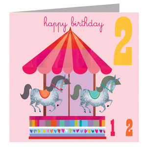 Load image into Gallery viewer, Age 2 - Horses Birthday Card