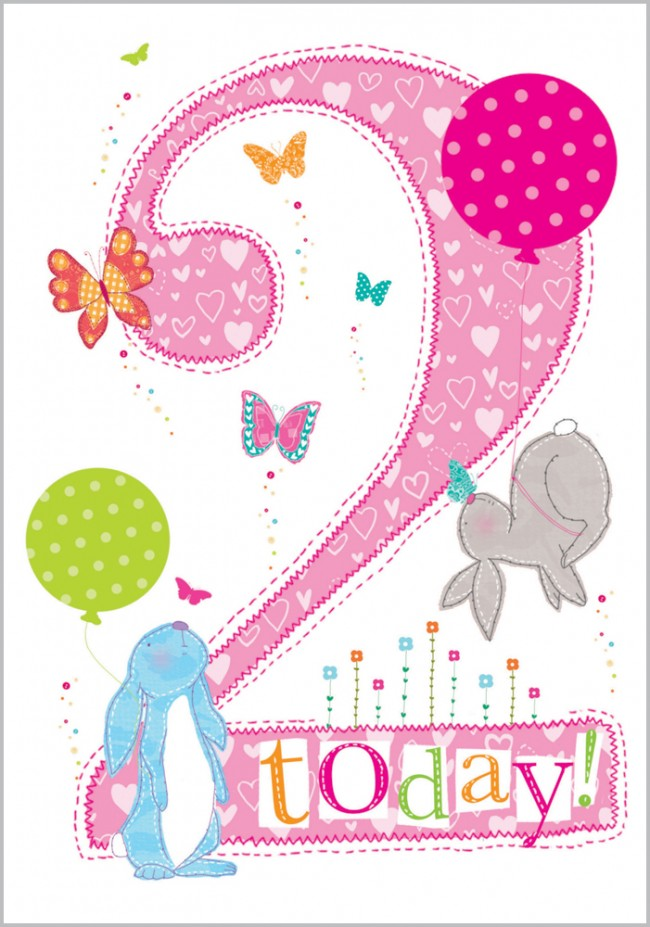 Age 2 - Bunny Birthday Card
